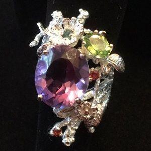 Breathtaking ! One Of A Kind Genuine Amethyst Ring